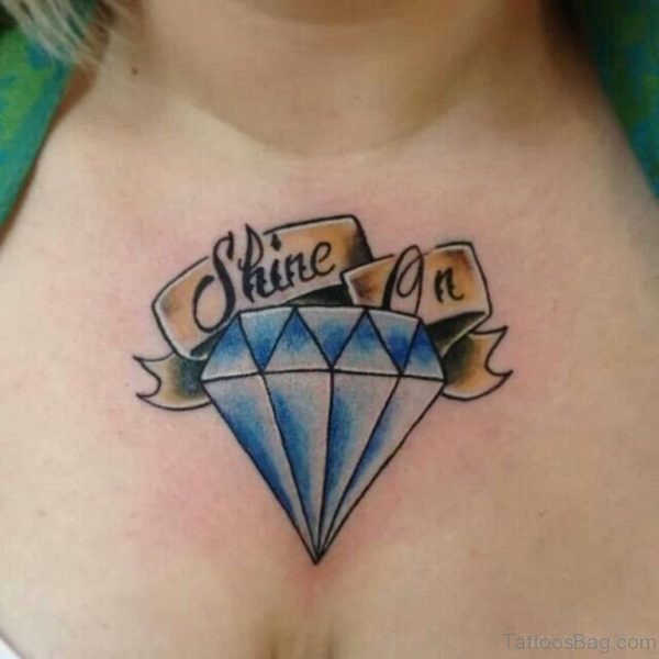 Diamond And Wording Tattoo On Chest