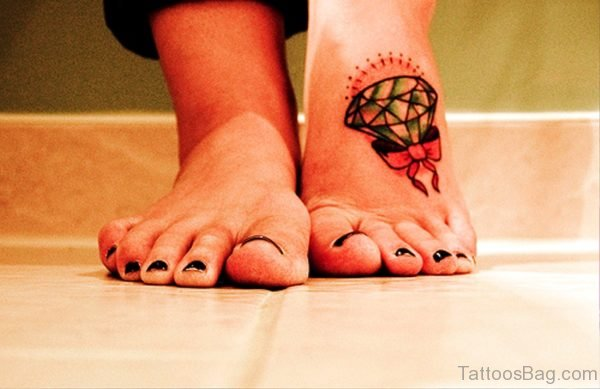 Diamond Bow Tattoo On Foot