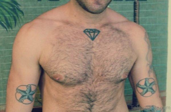 Diamond Tattoo on Chest for Men