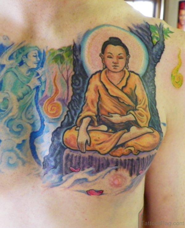 Dog And Buddha Tattoo On Chest