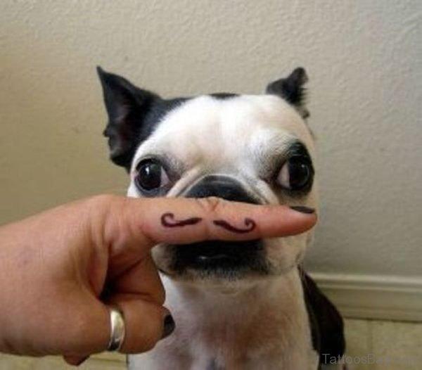 Dog With Fingerstache Tattoo