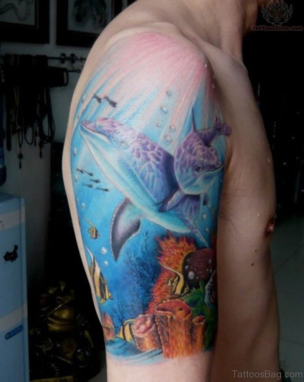 Dolphin Tattoo On Shoulder
