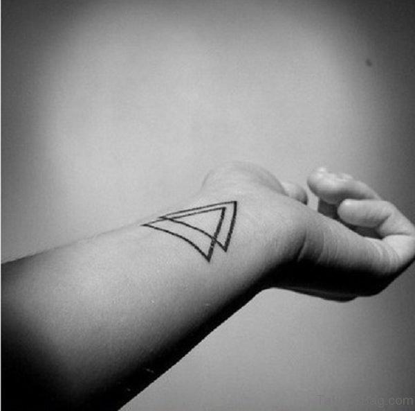 Double Black Triangle Tattoo On Wrist
