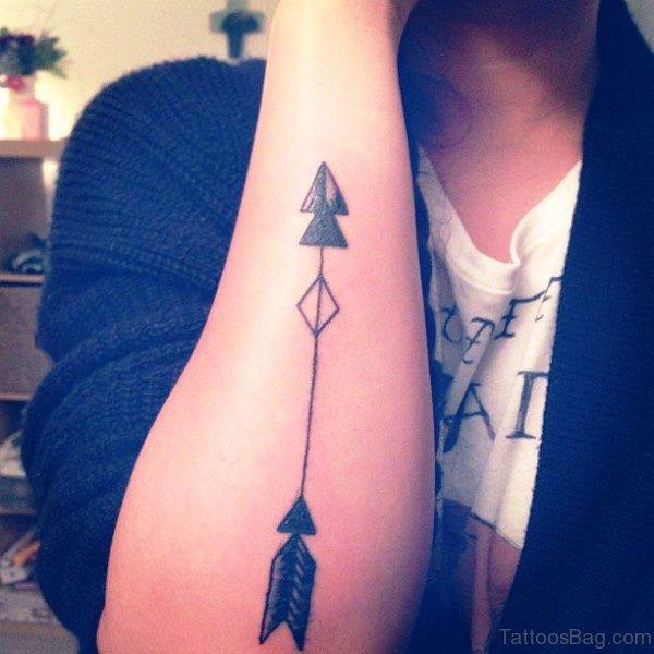 Double Triangle Arrow Tattoo On Arm