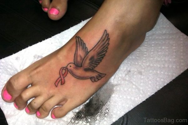 Dove With Cancer Ribbon Tattoo
