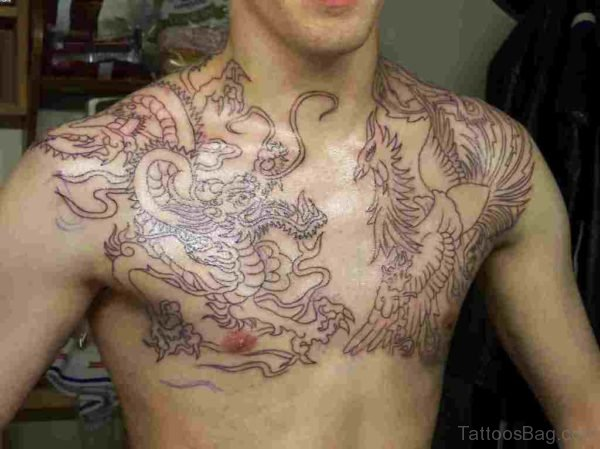 Dragon And Phoenix Outlines Tattoo On Chest