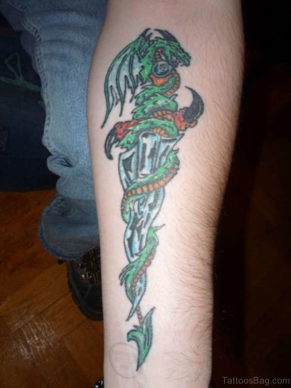 Dragon Around Dagger Tattoo On Forearm
