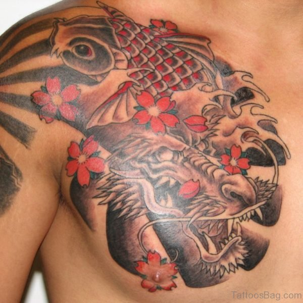 Dragon Face Tattoo On Chest