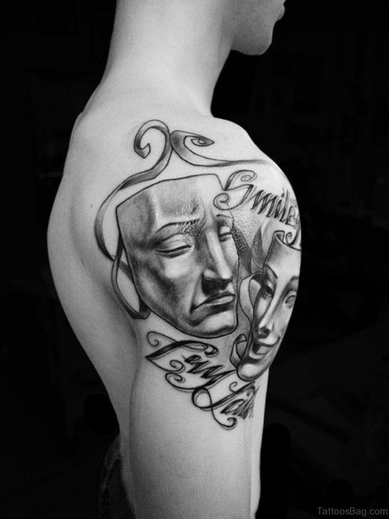 72 outstanding mask tattoos on shoulder. Black Bedroom Furniture Sets. Home Design Ideas