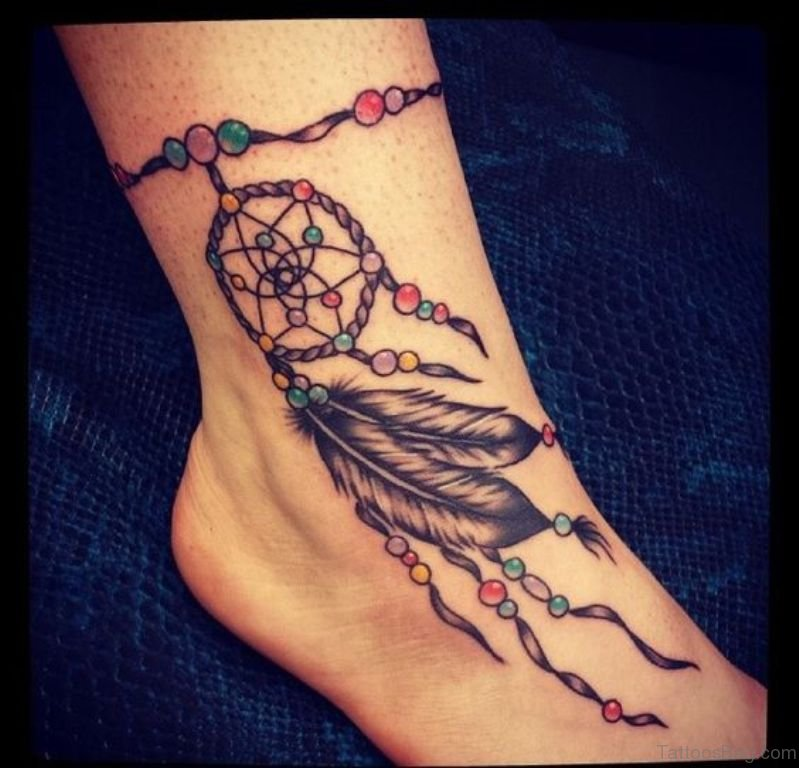 41 cute dreamcatcher tattoos on ankle. Black Bedroom Furniture Sets. Home Design Ideas
