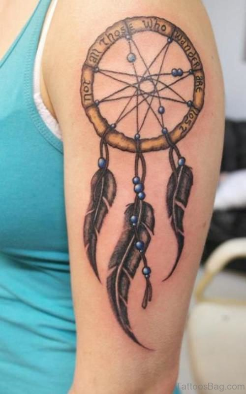 Dreamcatcher Tattoo Design On shoulder