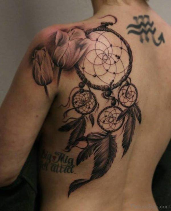 Dreamcatcher Tattoo On Back Shoulder