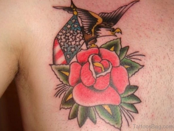 Eagle And Rose Tattoo