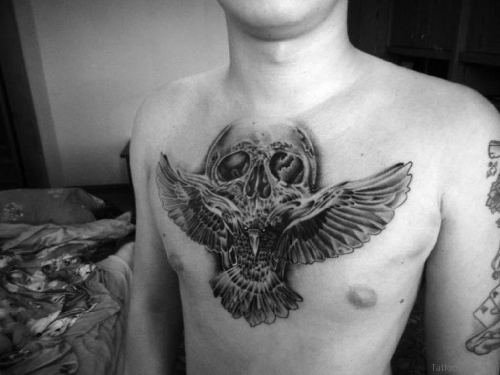 70 stunning skull tattoos on chest for Skull and eagle tattoo