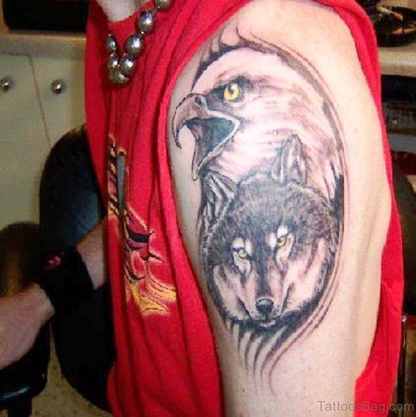 Eagle And Wolf Shoulder Tattoo Design