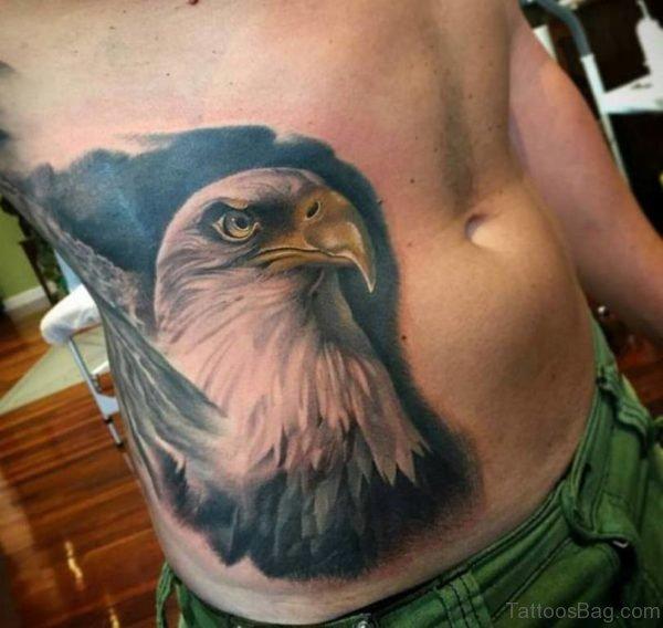 Eagle Head Tattoo On Rib