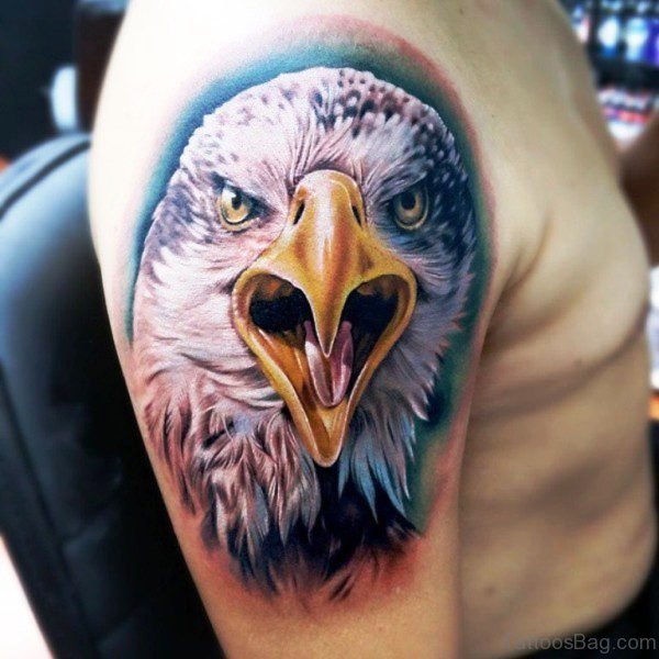 Eagle Head Tattoo On Shoulder