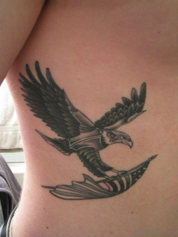 Eagle Holding Flag Tattoo
