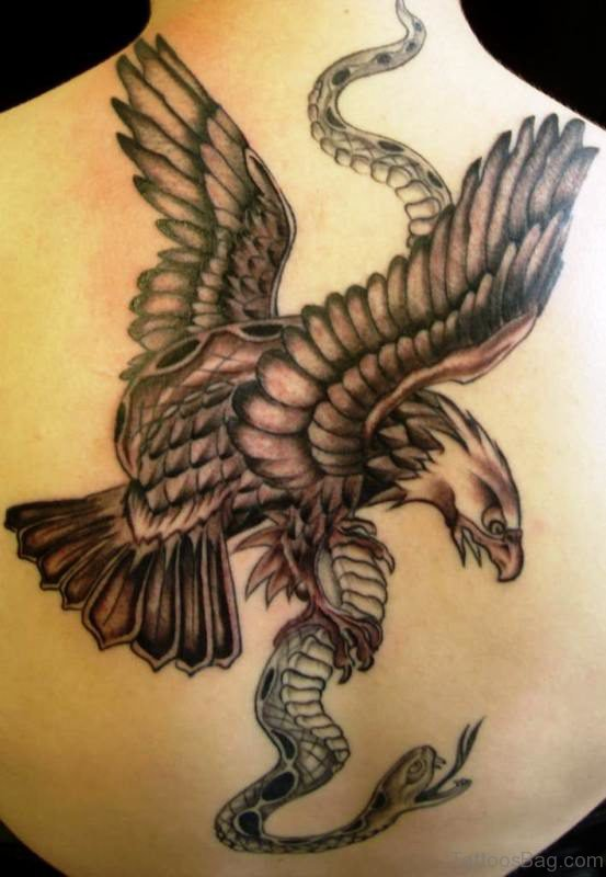 Eagle Tattoo On Neck Back