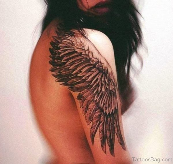 Eagle Wings Tattoo On Right Shoulder