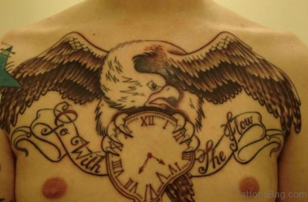 Eagle With Clock Tattoo On Chest