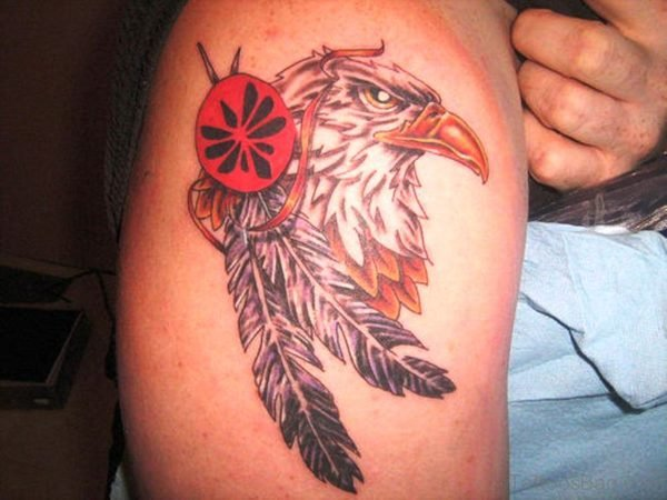 Eagle With Feather Shoulder Tattoo