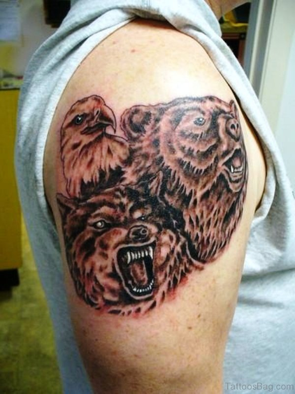 Eagle With Wolf And Bear Tattoo