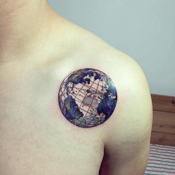 Earth Tattoo On Front Shoulder