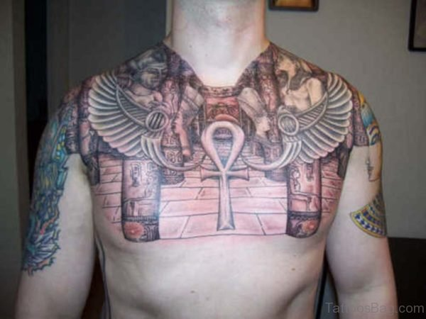Egyptian Big Ankh Tattoo On Man Chest