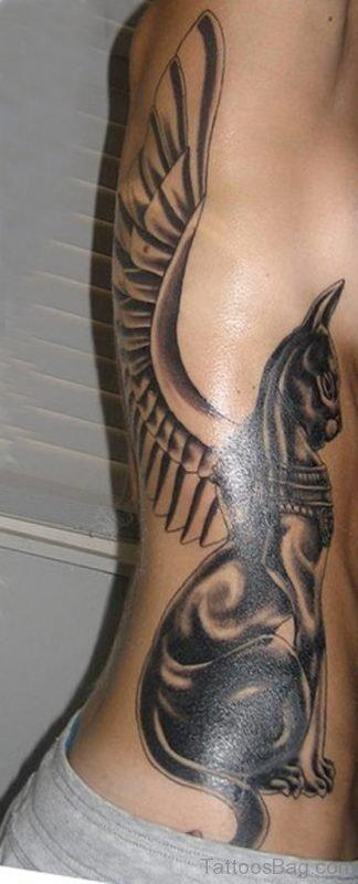 Egyptian Cat Tattoo On Side Rib