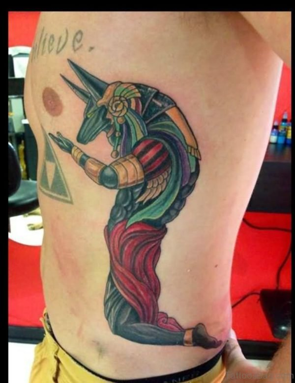 Egyptian God Abstract Tattoo On Side Rib