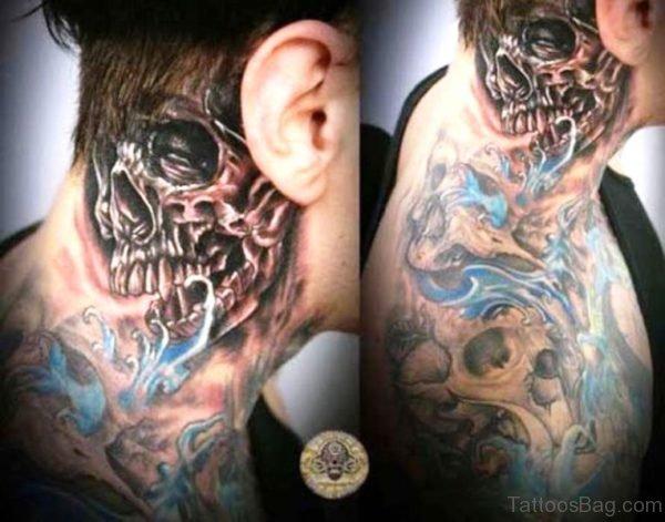 Egyptian Skull Tattoo On Neck