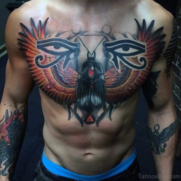 Egyptian Themed Mens Upper Chest Tattoo