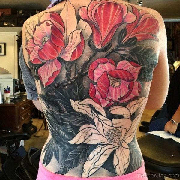 Eleagnt Magnolia Tattoo On Back