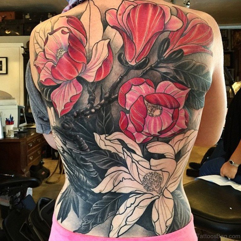 54 Great Magnolia Tattoos For Back