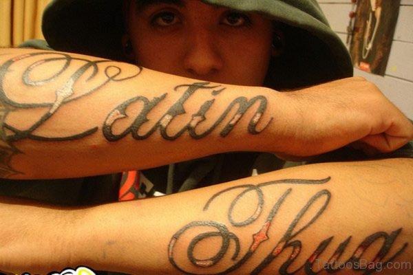 Elegant Wording Tattoo For Arm