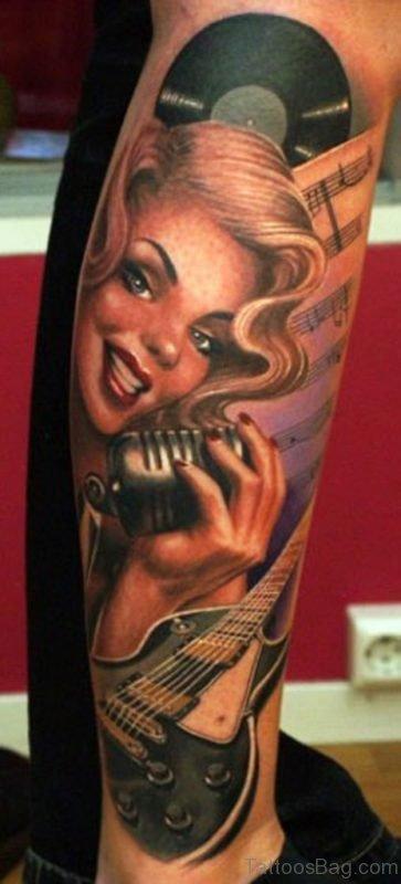 Electric Linda Portrait Tattoo On Leg