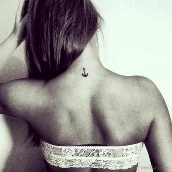 Elegant Anchor Tattoo On Neck