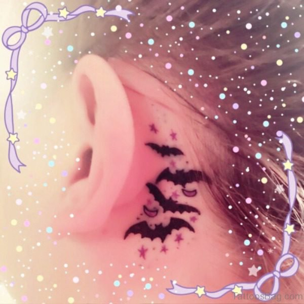 Elegant Bats Tattoo Behind Ears
