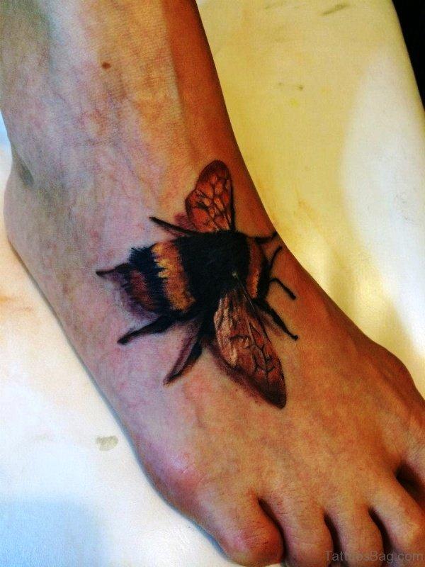 Elegant Bee Tattoo On Foot