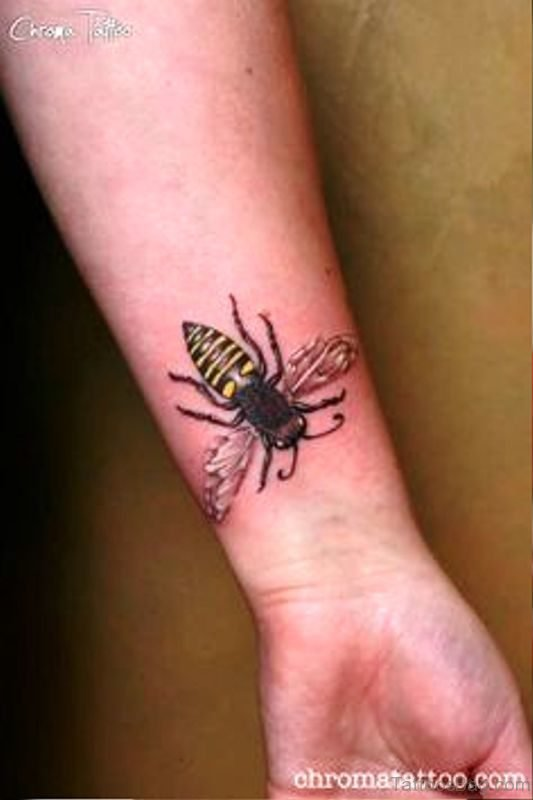 Elegant Bee Tattoo On Wrist