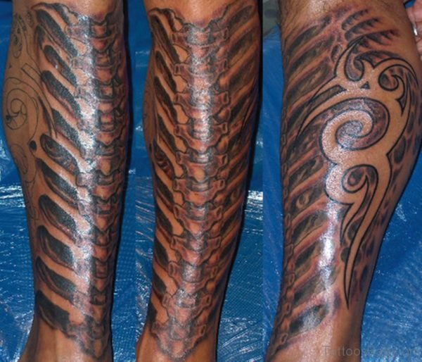 Elegant Biomechanical Tattoo On Leg