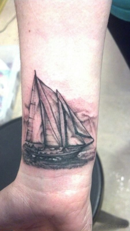 Elegant Boat Tattoo On Wrist