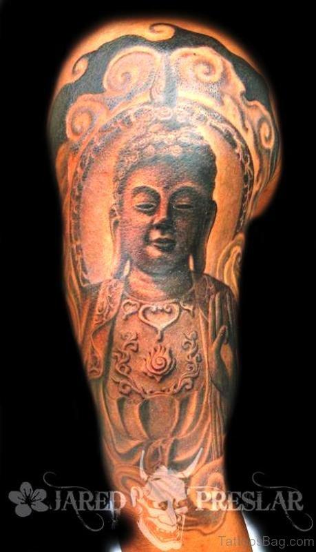 Elegant Buddha Tattoo Full Sleeve