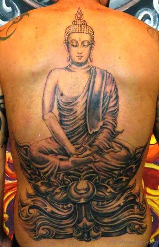 Elegant Buddha Tattoo On Back