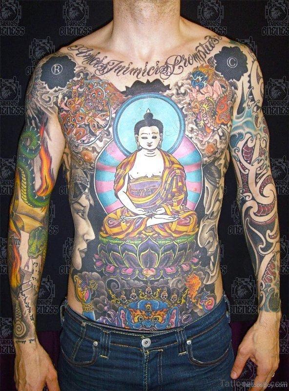 Elegant Buddha Tattoo On Chest