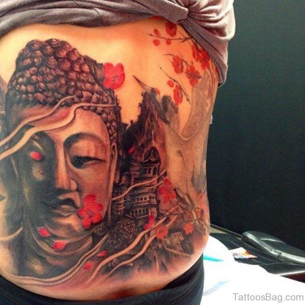 Elegant Buddha Tattoo On Full Back
