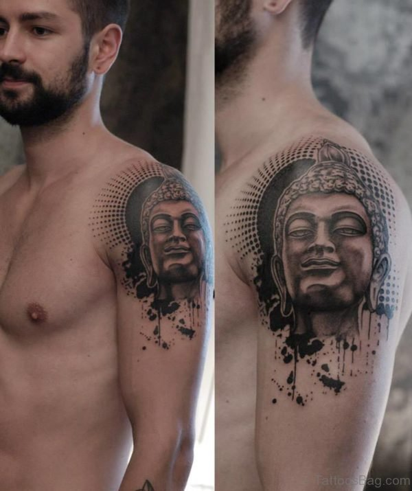 Elegant Buddha Tattoo On Shoulder