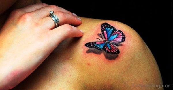Elegant Buttrefly Shoulder Tattoo