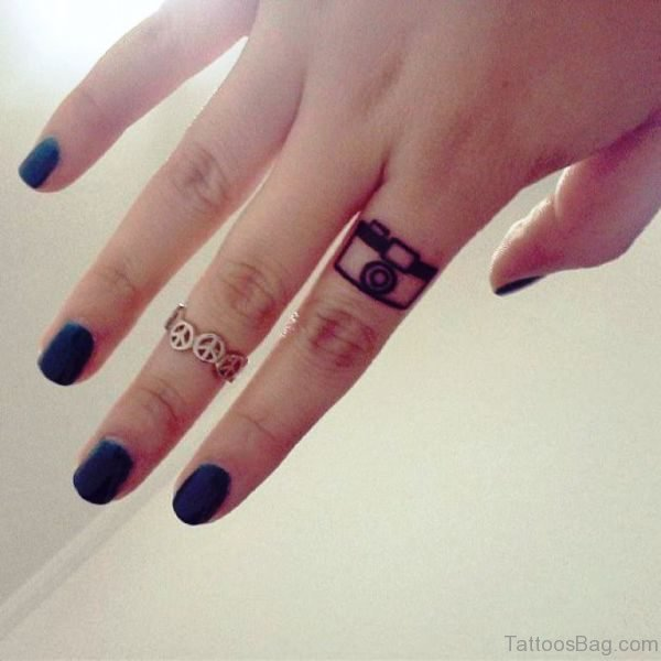 Elegant Camera Finger Tattoo